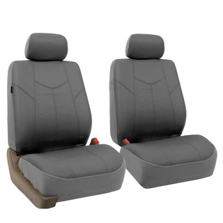 FH Group Grey Rome PU Leathe Front Bucket Seat Covers (Set of 2)