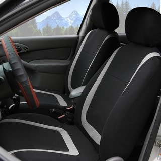 FH Group Grey and Black Unique Flat Cloth Auto Seat Covers (Full Set)