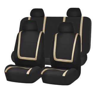 FH Group Beige And Black Unique Flat Cloth Auto Seat Covers Full Set