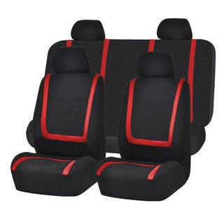 FH Group Red and Black Unique Flat Cloth Auto Seat Covers (Full Set)