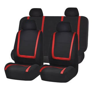 FH Group Red And Black Unique Flat Cloth Auto Seat Covers Full Set