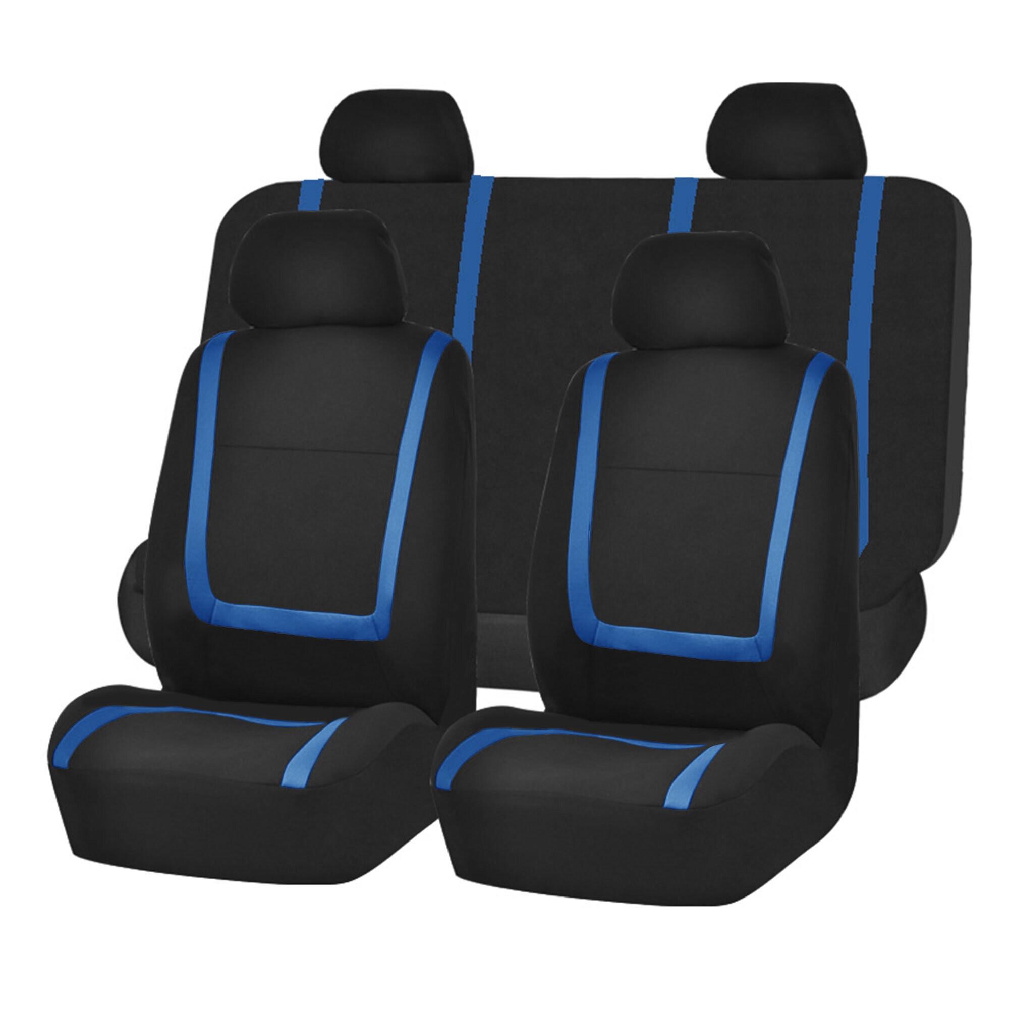 FH Group Blue Black Unique Flat Cloth Auto Seat Covers (F...