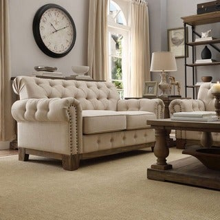 Link to Greenwich Tufted Rolled Arm Nailhead Beige Chesterfield Loveseat by iNSPIRE Q Artisan Similar Items in Sofas & Couches