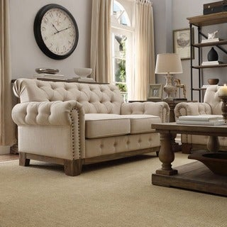 SIGNAL HILLS Greenwich Tufted Scroll Arm Nailhead Beige Chesterfield Loveseat