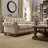 Greenwich Tufted Rolled Arm Nailhead Beige Chesterfield Loveseat by iNSPIRE Q Artisan