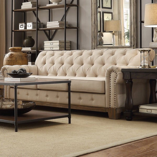 Greenwich Tufted Scroll Arm Nailhead Beige Chesterfield Sofa By Inspire Q