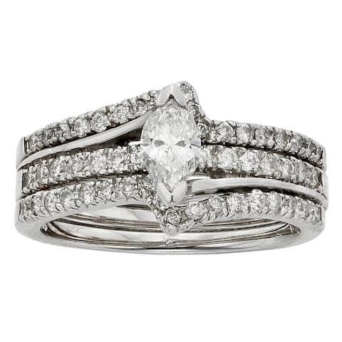Sofia 14k White Gold 1ct TDW Marquise Diamond Bridal Set