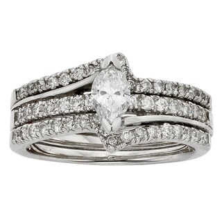 Sofia 14k White Gold 1ct TDW Marquise Diamond Bridal Set