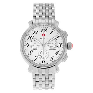 Michele Women's MWW24A000001 'Fluette' Chronograph Diamond Silver Stainless Steel Watch
