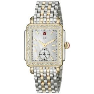 Michele Women's 'Deco 16' Diamond Two tone Stainless Steel Watch