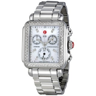 Michele Women's MWW06P000110 'Deco' Chronograph Diamond Silver Stainless Steel Watch