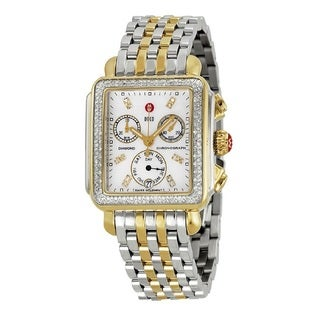 Michele Women's MWW06P000108 'Deco' Chronograph Diamond Two tone Stainless Steel Watch