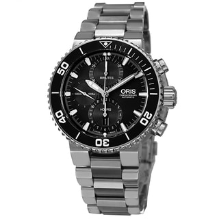 Oris Men's 774 7655 4154 MB 'Aquis' Black Dial Stainless Steel Automatic Chronograph Watch