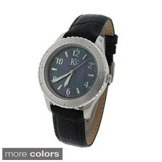 KC Women's WWM Diamond Accent Mother of Pearl Leather Strap Watch