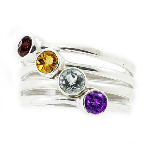 Handmade Sterling Silver Birthstone Stacking Rings (Indonesia)