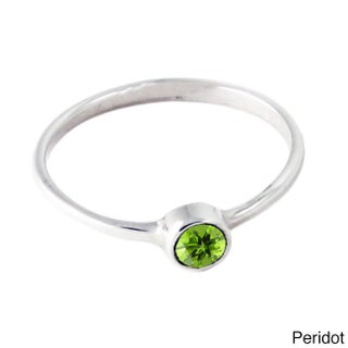 Handmade Spirit Birthstone Stacking Sterling Silver Rings (Bali) (More options available)