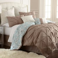 Amraupur Overseas Lorna 8-piece Floral Blue/ Taupe Comforter Set