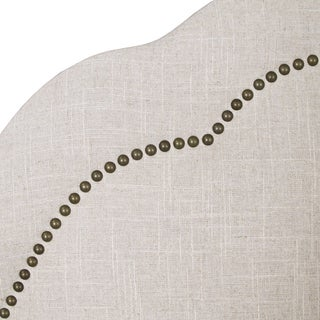 Skyline Furniture Arch Inset Nail Button Headboard in Linen Talc