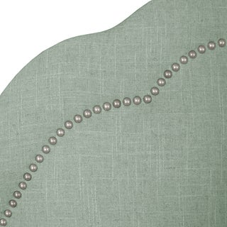 Skyline Furniture Arch Inset Nail Button Headboard in Linen Swedish Blue