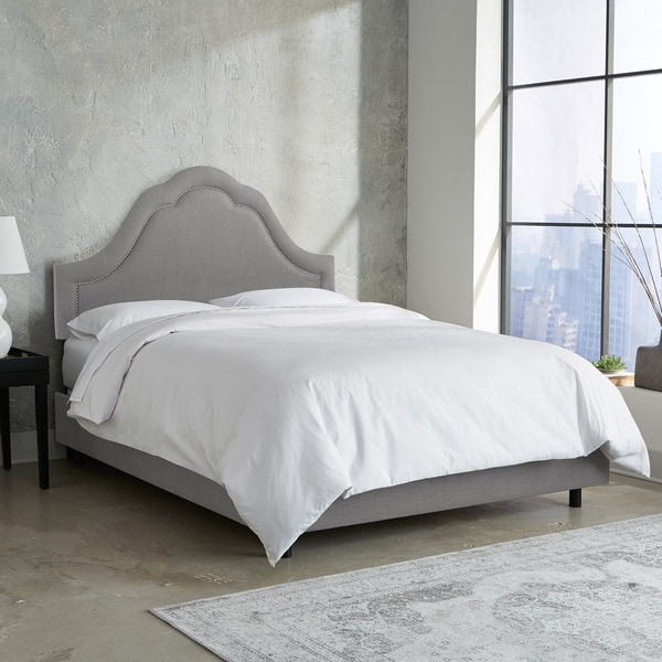 Skyline Furniture Arch Inset Nail Button Bed in Linen Grey