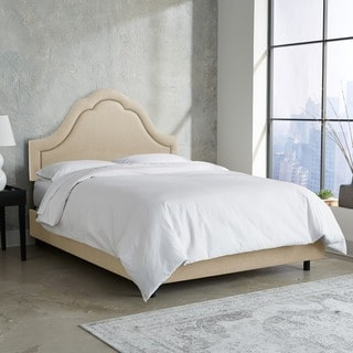 Skyline Furniture Arch Inset Nail Button Bed in Linen Sandstone