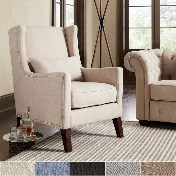 Henry Wingback Nailhead Upholstered Club Chair With Pillow By