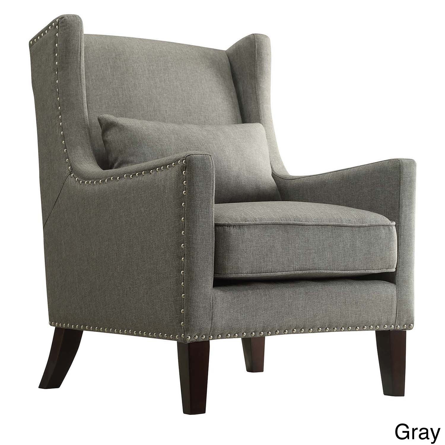 Henry Wingback Nailhead Upholstered Club Chair with Pillo...