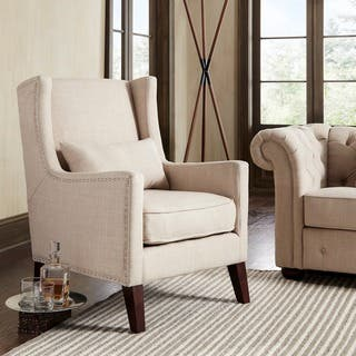 wing chairs for living room. Henry Wingback Nailhead Upholstered Club Chair with Pillow by iNSPIRE Q  Classic Chairs Living Room For Less Overstock com
