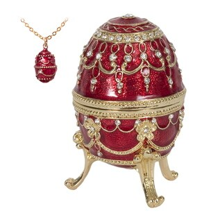 "Austrian Crystal Red ""Endless Love"" Fancy Egg-shaped Music Box"