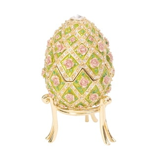 Bejeweled Floral Rose Garden Musical Egg Crystal Trinket Box