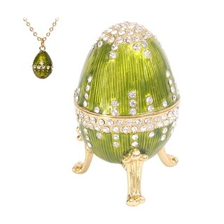"Austrian Crystal Green Enamel ""Swan Lake"" Egg Music Box"