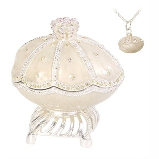 "Austrian Crystal White Enamel ""My Heart Will Go On"" Faberge Egg"
