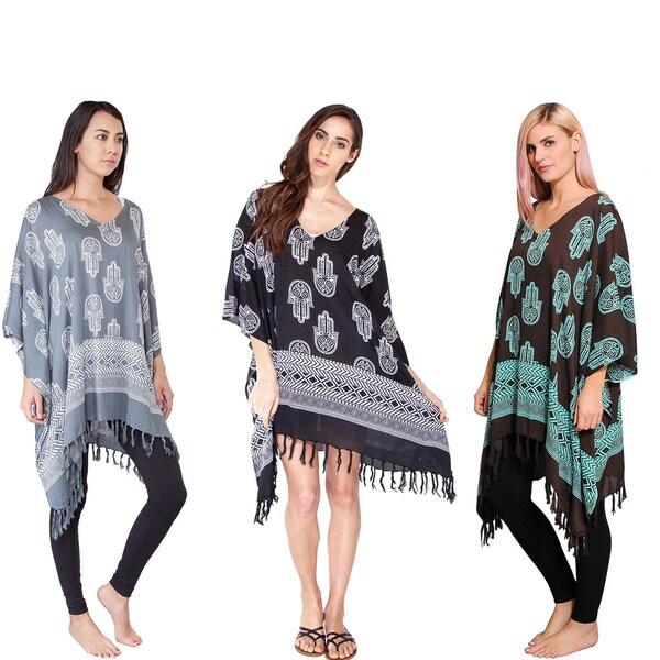 Handmade Women's Hamsa Pattern Beach Cover/ Dress (Indonesia). Opens flyout.