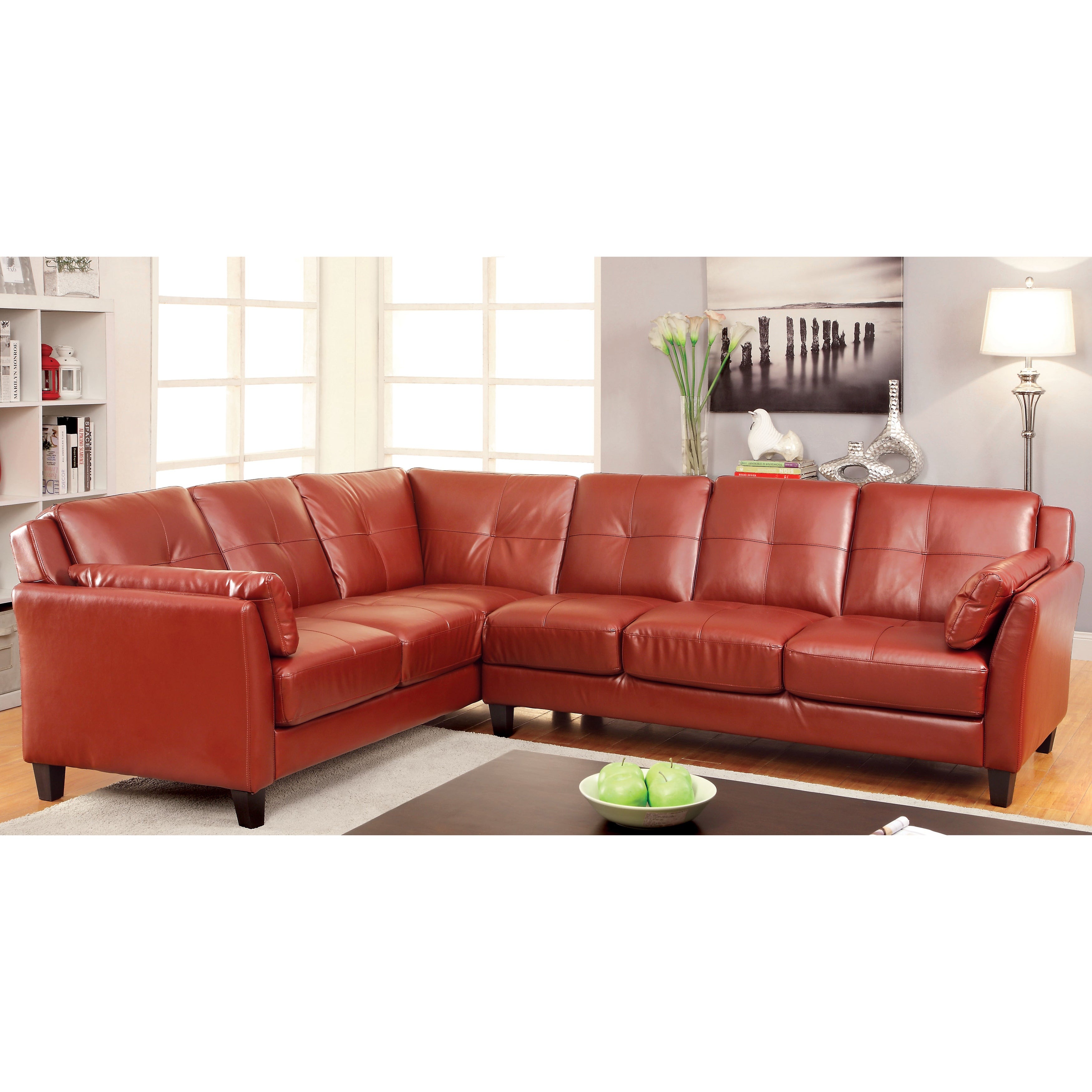 Furniture of America Pierson Double Stitched Leatherette ...