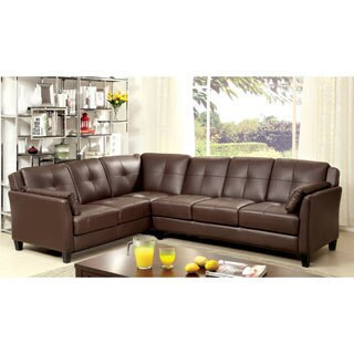 Furniture of America Pierson Double Stitched Leatherette Sectional