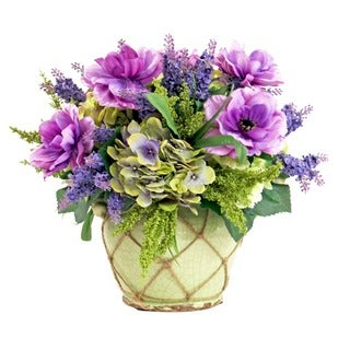 Anemone/ Hydrangea/ Mixed Lavender Arrangement in Jute Trim Ceramic Planter