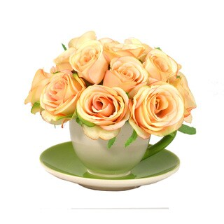 Handcrafted Peach Rose Bouquet in Ceramic Teacup Vase