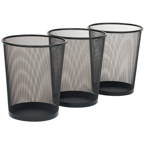 Seville Classics 6 Gal. Black Round Mesh Trash Can Recycling Bin (3-Pack)