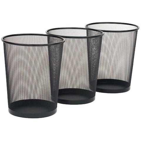 Seville Classics 6 Gal. Black Round Mesh Trash Can Recycling Bin (3-Pack)