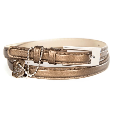 Women's Metallic Crinkle Leather Skinny Belt