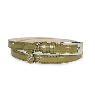Women's Olive Patent Leather Skinny Belt (2 options available)