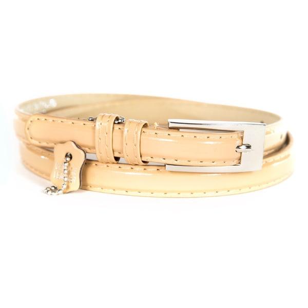 Women's Nude Patent Leather Skinny Belt