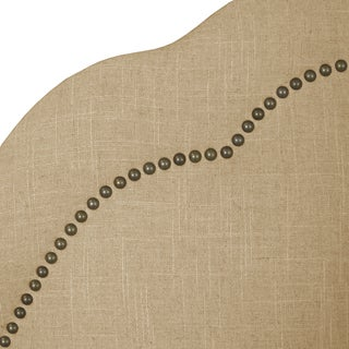 Skyline Furniture Arch Inset Nail Button Headboard in Linen Sandstone