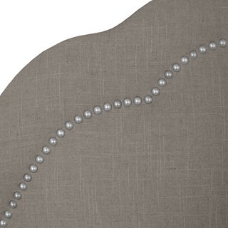 Skyline Furniture Arch Inset Nail Button Headboard in Linen Grey