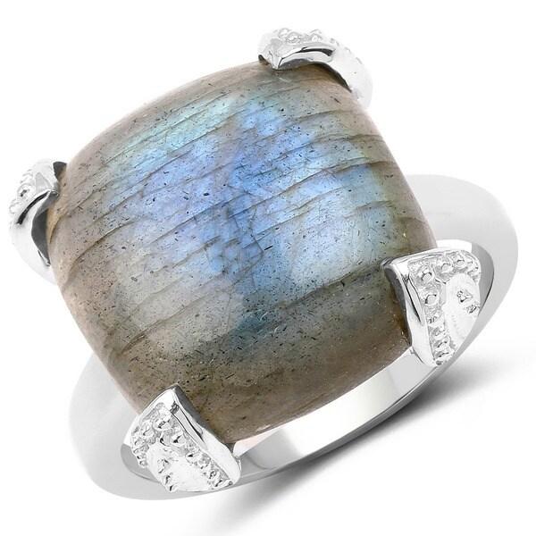 Malaika 16.95 Carat Genuine Labradorite .925 Sterling Silver Ring - Grey