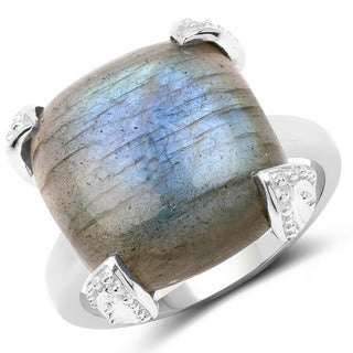 Malaika 16.95 Carat Genuine Labradorite .925 Sterling Silver Ring - Grey