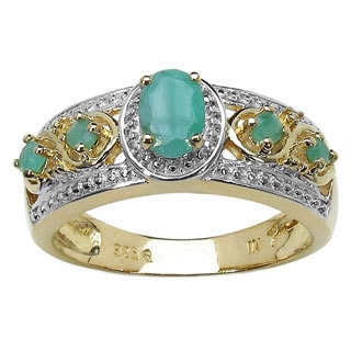 Malaika 14K Yellow Gold Plated 0.57 Carat Genuine Emerald .925 Sterling Silver Ring