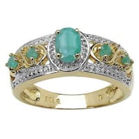 Malaika Yellow Gold Plated 0.57 Carat Genuine Emerald .925 Sterling Silver Ring