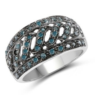 Olivia Leone Sterling Silver 1/2ct TDW Blue Diamond Ring