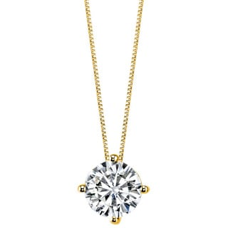 Charles & Colvard 14k Yellow Gold 1.90 TGW Round Classic Moissanite Solitaire Pendant